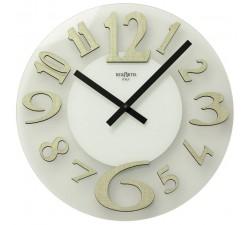 orologio da parete in vetro satinato e numeri in legno