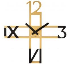 orologio da parete moderno a forma di croce rexartis giallo oro