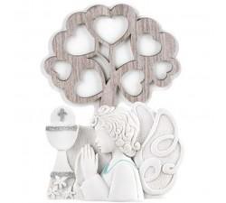 albero della vita con angelo bomboniera comunione bimbo