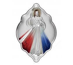 Icon Jesus Merciful in bilaminated silver