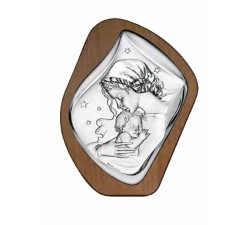 madonna with baby panel in wood with silver plaque