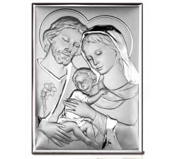 modern picture sacred family in bilaminated silver