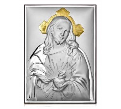 Quadro in argento sacro cuore di gesù