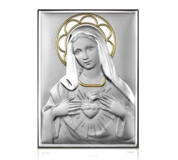 quadro in argento sacro cuore di maria