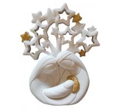 natività sacra famiglia con albero della vita e stelle