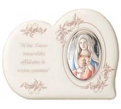 capoculla in pelle con icona in argento sacro cuore di maria