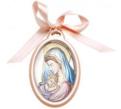 Sopraculla rosa madonna con bambino, idea regalo bimba