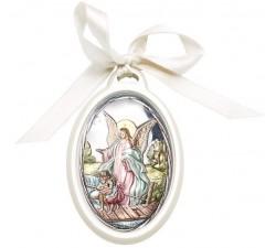 capoculla bianco con angelo custode su placca argento