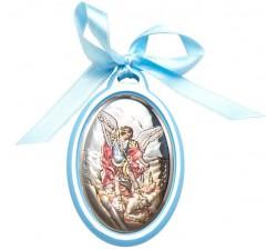capoculla celeste in legno e placca argento san michele arcangelo