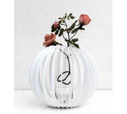 vaso decorativo bianco in legno