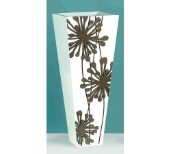 vaso da interno decorativo in legno bianco con decorazione tortora