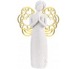 statuina angelo che prega in marmorino, regalo nascita