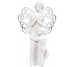 statuina angelo custode con bimbo, soprammobile angeli
