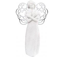 scultura angelo con cuori in marmorino