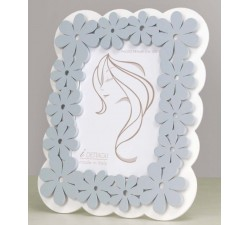 Cornice portafoto moderna in legno bianco e celeste