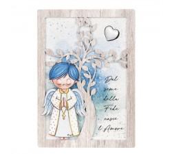 quadretto bimbo comunione albero della vita con angeli dei sogni