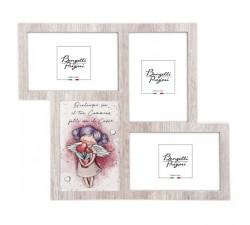 portafoto multiplo in legno con angelo custode