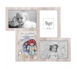 portafoto multiplo bimba in legno collezione angeli dei sogni