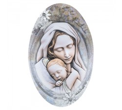 Madonna with child picture frame in wooden retouche decorative panel