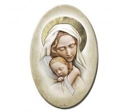 Madonna con bambino quadro materico in legno retouchè pannello decorativo