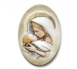 Pannello decorativo in legno Madonna con Bambino con foglia oro