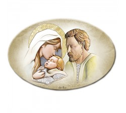 Pannello decorativo Sacra Famiglia in legno retouché capoletto