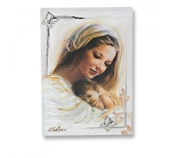 modern day quadretto madonna with baby panel in wood