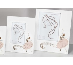 white wooden photo holder with ballerina