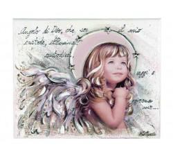 quadro pannello decorativo bimba con preghiera angelo di dio