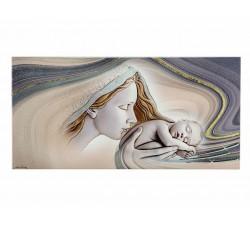 quadro moderno pannello in legno madonna con bambino