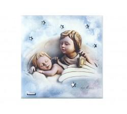 Quadro angelo custode con bimbo che dorme finitura argento