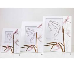 Cortice portafoto bianca con decorazione fiori, in legno