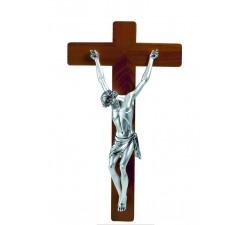 crocifisso in legno da parete con scultura corpo cristo in resina