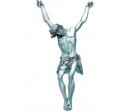scultura corpo di cristo in resina argentata