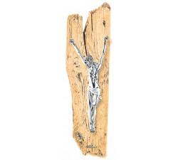crocifisso da parete moderno resina argentata e legno