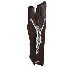 crocifisso da parete moderno in resina argentata e legno wengè