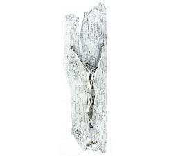 crocifisso da parete moderno in resina argentata e legno decorato