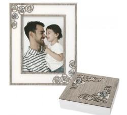 portafoto in legno bianco e rovere, con cofanetto portagioie