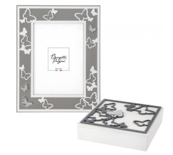 white and grey pearl photo holder with barbed casket, butterfly decoration