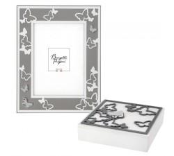 portafoto bianco e grigio perla con cofanetto abbinato, decorazione farfalle