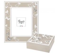 cornice portafoto in legno con farfalle e portagioie