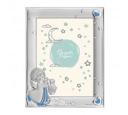 portafoto bambini angelo custode, cornice in argento