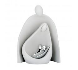 Statuina Sacra Famiglia stilizzata, bianca, bongelli preziosi